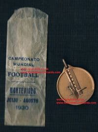 1930 original 1st World Cup medal, a WC30 medallion & its wrapper Campeonato Mundial Uruguay!